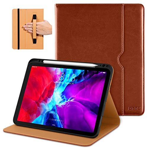 DTTO Case for New iPad Pro 12.9 Inch 4th Generation 2020/2018, Premium PU Leather Folio Stand Cover [Apple Pencil Pair and Charge Supported] - Auto Wake/Sleep and Multiple Viewing Angles, Brown