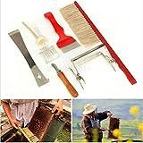 PKA - Set di 7 attrezzi per apicoltura, spazzola per api, forchetta per api, raccogli queen catcher, alveari