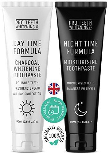 Dentifricio al Carbone Attivo Sbiancante e Idratante per Denti Naturali - Formula Avanzata Giorno e Notte - Prodotto nel Regno Unito - 60 giorni Igiene Dentale