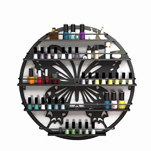 Estante de esmalte de uñas de 5 niveles montado en la pared - Silueta Estante de exhibición redondo del arte de la pared del salón del metal, para aceites esenciales Perfumes Cosméticos Especias
