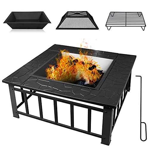 Qweidown Outdoor Fire Pit Firebowl Large 81x81x36 cm(LxWxH), 3in1 Heaters Barbecue Brazier with BBQ Grill Shelf & Poker & Lid, Wood & Coal Burners for Garden Patio Camping