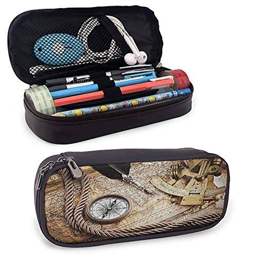 Dekor PU Leder Reißverschlussbeutel Vintage Navigation Voyage Themed Lifestyle Bild mit Sextant und Discovery Tools Art Smooth Zippers