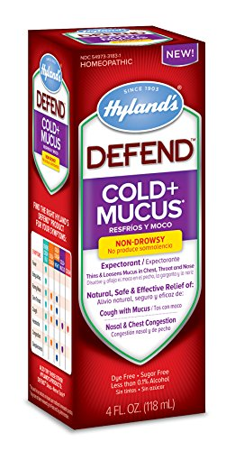 Hyland's Cold and Cough Mucus Relief Decongestant Defend by Homeopathic Cold Plus Mucus Fluid Ounce, Red, 4 Fl Oz