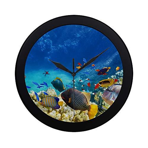 WYYWCY Moderne einfache Korallenriffe und Tropische Fische Wanduhr Indoor Sweep Movement Clcok für Büro, Bad, Wohnzimmer dekorative 9,65 Zoll