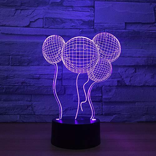 3D illusie nachtlampje LED smiley ballon licht voor kinderen decoratie verjaardag cadeau 7 kleuren met afstandsbediening USB aangedreven home slaapkamer decoratie