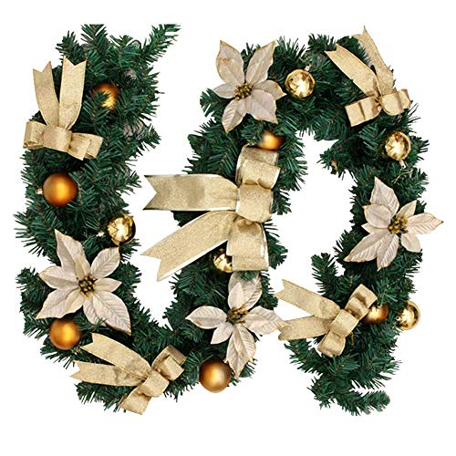 FEEE-ZC Christmas Garland with LED Lights, 6FT(1.8M) Pre-lit Christmas Garland Decoration for Xmas Tree Stairs Fireplaces Garden Décor (Style B)