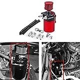 HANSWD 汎用 300mlオイルキャッチタンク 円柱型 アルミ製 フリーザーフィルターとホース付属 (ブラック+レッド)