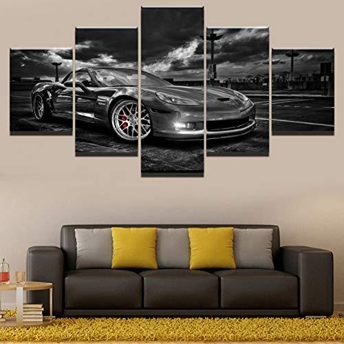 WOKCL Canvas Schilderij Op Doek Muur Kunst Thuis Decoratieve Kamer HD Gedrukt 5 Panel Modulaire Afbeeldingen Chevrolet Corvette Auto Poster, Geen Frame