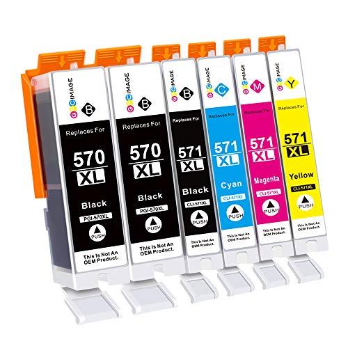 GPC Image Compatibili Cartucce d'inchiostro Sostituzione per Canon PGI-570 CLI-571 570XL 571XL per Pixma MG5750 TS5050 MG6850 MG5751 TS5051 TS6050 TS8050 (PGBK Nero Ciano Magenta Giallo, 6-Pack)