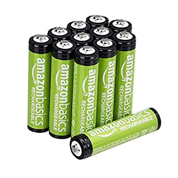 Amazon Basics 12-Pack AAA Performance 800 mAh Rechargeable Batteries Pre-Charged Recharge up to 1000x
