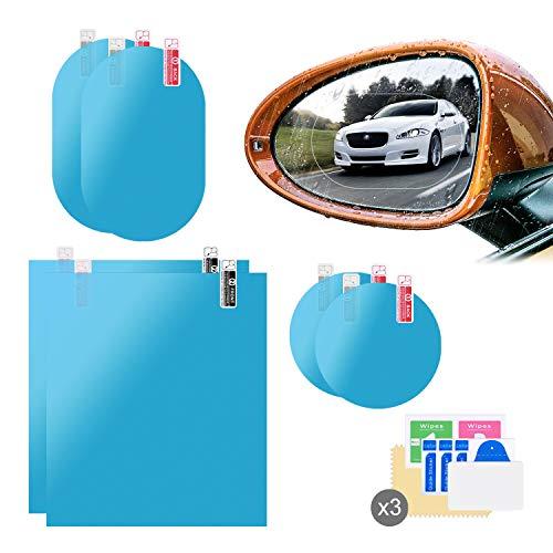 6pcs Auto Rückspiegel Folie, HD Wasserdicht Anti-Beschlag-Spiegel Schutzfolie für Geeignet für die Meisten Autos (200 * 175mm+ 95 * 135mm+100mm*100mm)