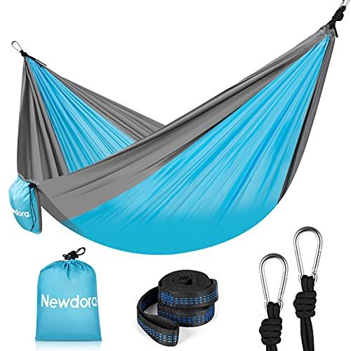 Newdora Camping Hammock, Garden Hammock Lightweight Nylon Portable, Best Parachute Double Hammock for Backpacking, Camping, Travel, Beach, Yard. 105'(L) x 56'(W), with Hammock Ropes