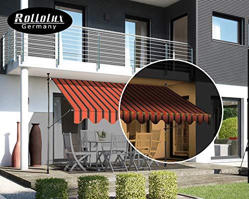 Rollolux LED Klemmmarkise Orange/Schwarz 250 x 120 cm Markise Balkonmarkise Sonnenschutz - mit Gestell ohne Bohren – UV-beständig - Höhenverstellbar 230-300 cm