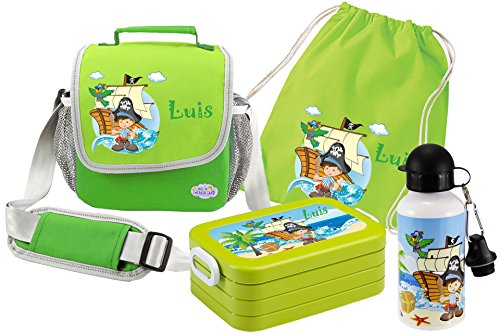 Mein Zwergenland Set 5 Kindergartentasche, Brotdose, Trinkflasche und Turnbeutel Happy Knirps mit Namen, 4-teilig, grün