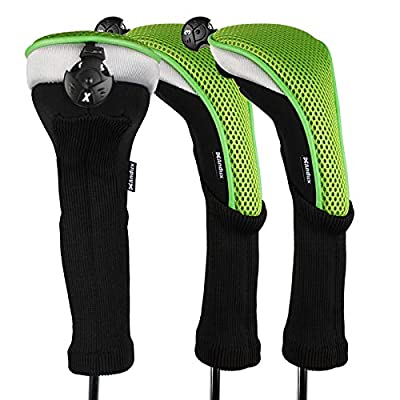 Andux 3pcs/Pack Long Neck Golf Hybrid Club Head Covers with Interchangeable No. Tag CTMT-02 (Green)