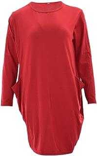 GAGA Women's Casual Long-Sleeve Shift Bubble Cocoon Plain Loose Fit Midi Dress