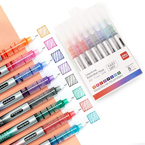 Deli 8 Colored Liquid Ink Pens, Ultra Fine Point (0.5 mm), 8 Assorted Colors Marker Pens, Instant Dry No Smudge No Bleed Rolling Ball Pens, Fine Point Liquid Rollerball Pens