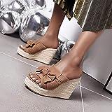 Diamante del pie de la correa de T Bar, sandalias de ante de la boca de pescado y zapatillas, arco del nudo de cuña de la plataforma impermeable talón sandalias de las mujeres-black_40, Bañera cubiert