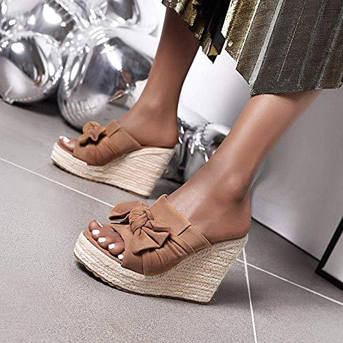 Voltear sandalias de punta abierta de la mujer, sandalias y zapatillas de ante de la boca de los pescados, arco-nudo de la plataforma de las cuñas repelentes al agua las mujeres sandalias de camel_37,