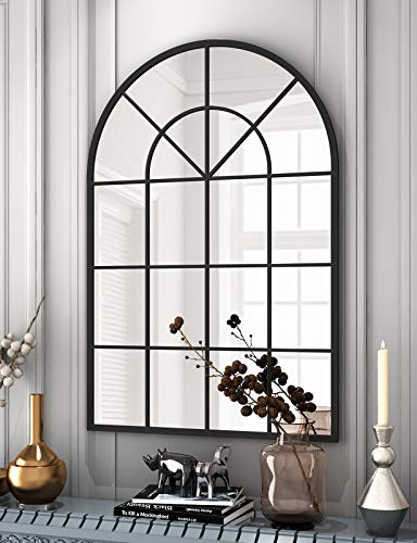 """Arched Window Finished Metal Mirror - 31.5""""×45"""" Wall Mirror Black Frame Window Pane Decoration for Living Room Entryway"""