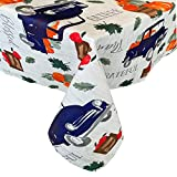 trucks fabric - Newbridge Blue Farm Truck Country Rustic Fabric Tablecloth, Vintage Truck Cottage Style Print , Soil Resistant No Iron Easy Care Tablecloth, 60 Inch x 84 Inch Oblong/Rectangle
