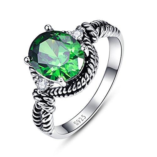 Bonlavie 4.35ct Oval Cut Created Emerald 925 Sterling Silver Women's Ring Black Vintage Size L 1/2