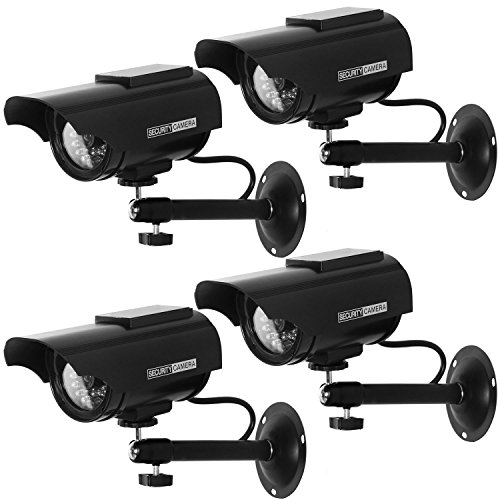 WALI Solar Powered Bullet Dummy Fake Simulated Surveillance Security CCTV Dome Camera Indoor Outdoor with 1 LED Light, Security Alert Sticker Decal (SOLTC-B4), 4 Packs, Black