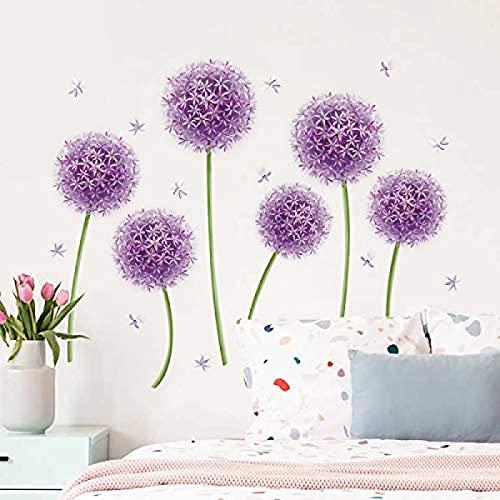 Yyhmkb - Calcomanías de pared de diente de león púrpura, pegatinas de pared de flores de Allium, dormitorio de niñas, sala de estar, TV, fondo, decoración artística de pared (6 flores)