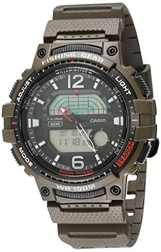 Casio Men's Fishing Timer Quartz Watch with Resin Strap, Green, 24.1 (Model: WSC-1250H-3AVCF)