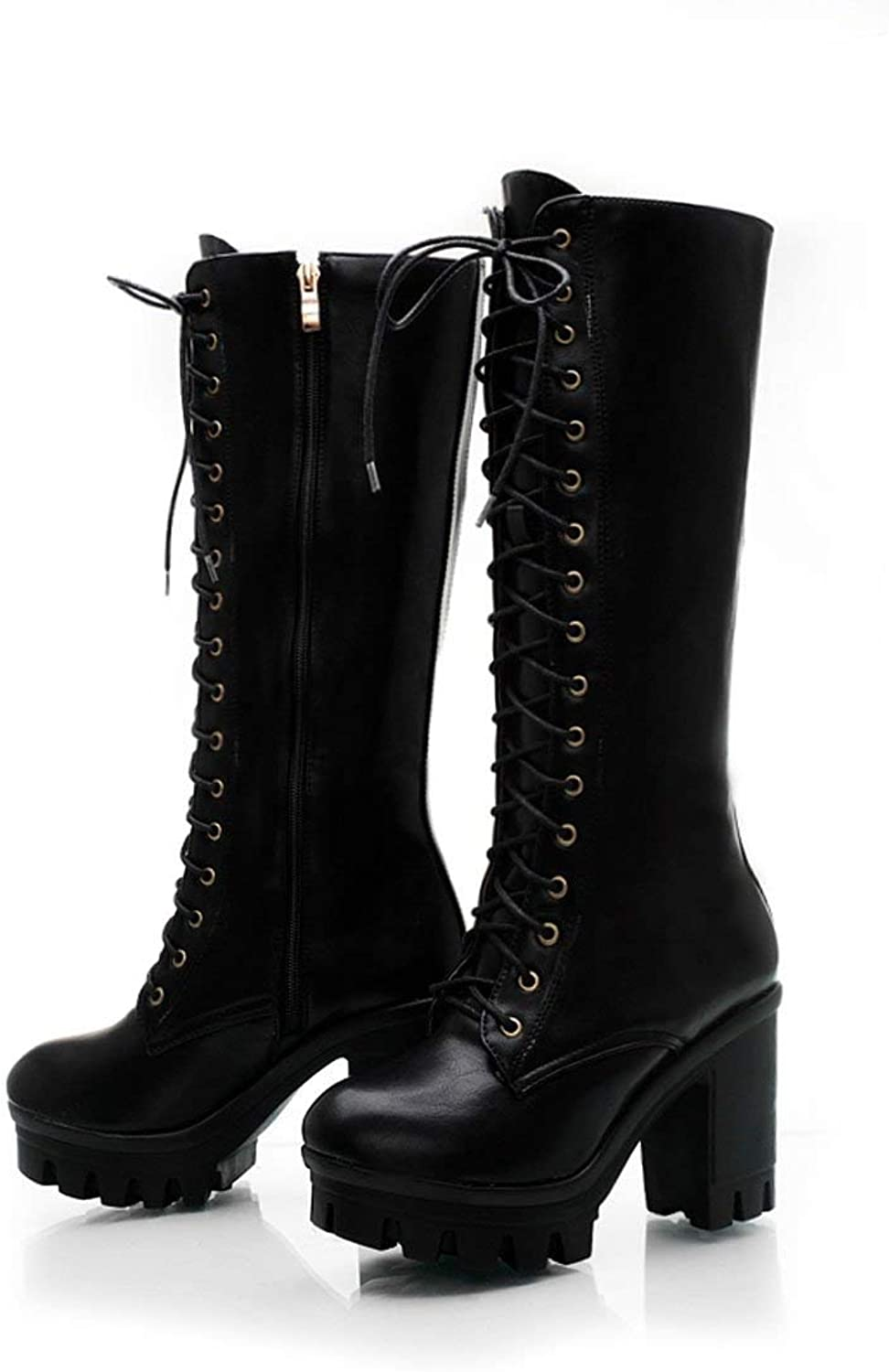 Vintage Fashion Women's Mid-Calf Lace Up Boots Sexy Platform Chunky High Heel Long Martin Boots(0 0)