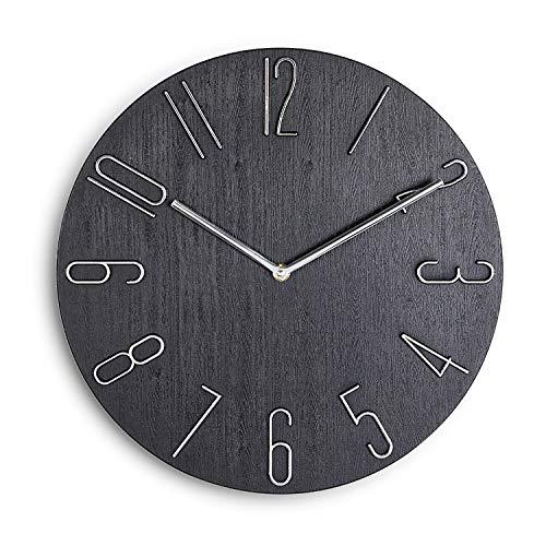 Shutz 掛け時計 おしゃれ 静音 非電波 北欧風 壁掛け時計 木目 3D立体数字 かわいい シンプル インテリア かけ時計 部屋飾り 贈り物 直径30cm (ブラック)