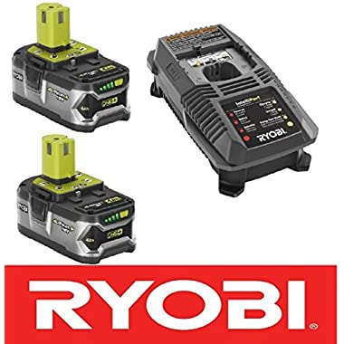 (2) Ryobi 18 Volt High Capacity 4.0 Fat Pack Batteries P108 + Charger P118 Kit