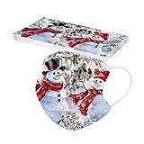 Lulupi 10 Stück Erwachsene Weihnachten Mundschutz Multifunktionstuch Weihnachtsmotiv Einweg MNS Mund und Nasenschutz Rentier Weihnachtsmann Motiv Maske Tücher 3-lagig Atmungsaktiv Mund-Tuch Halstuch