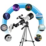 Telescope for Kids and Beginners F400 70AZ - 70mm Apeture Travel Scope 400mm AZ Mount - Good Partner to View Moon and Planet - with Backpack and Smartphone Mount