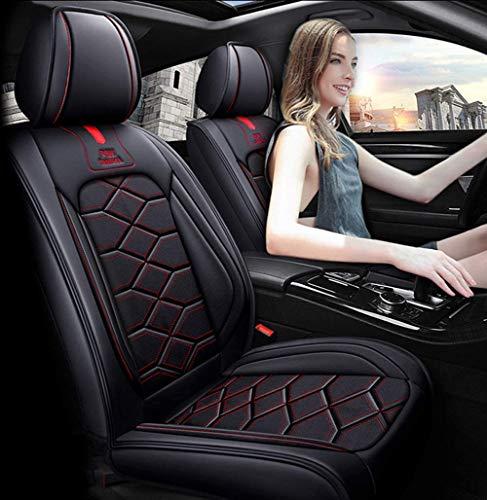 LUOLONG Auto-Sitzbezug, Automovil Leder Sitzbezüge Leder, Audi A6L Q3 Q5 Q7 S4 A5 A1 A2 A3 A4 B6 b8 B7 A6 c6 A7 A8,kompatibel mit Airbag-Sitzprotektoren,Autositzbezug-Set,Black