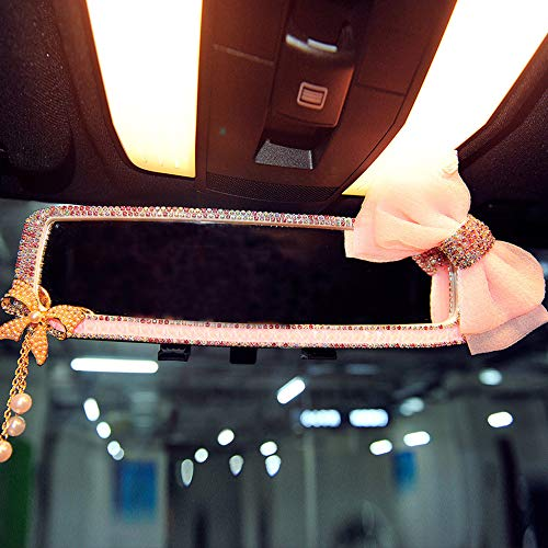 Price comparison product image INEBIZ Car Charm Brilliant Shining Diamond Butterfly Rearview Mirror Bling Bling for Girls Woman Car Interior Trim (Pink)