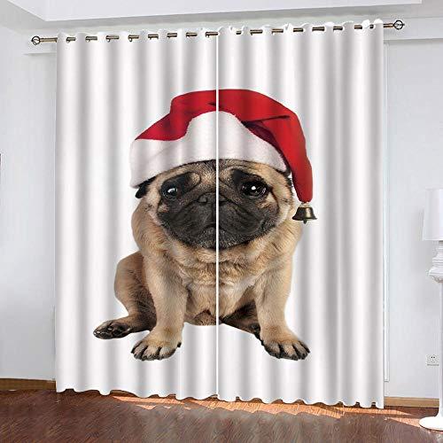 MENGBB Cortina Opaca Microfibra Infantil 230x180cm Sombrero de Navidad Animal Cachorro 95% Opaca Cortina aislantes de frío y Calor Decorativa con Ojales Estilo para Salón Habitación y Dormitorio