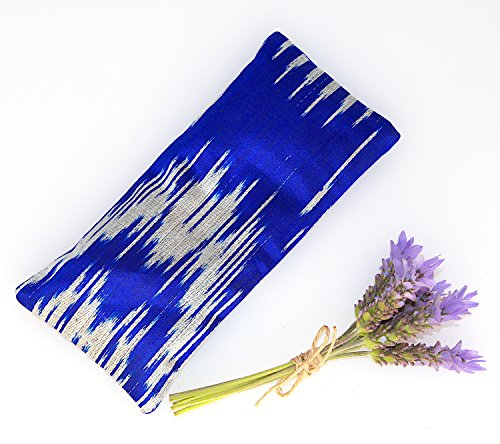 Relaxing Lavender Eye Pillow Uzbek Ikat Silk Blue Indigo Removable Cover Gift Idea Yoga Retreat Sleep Essential Aromatherapy Silk Mask