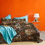 Modern 3 Piece Duvet Cover Coffee Culture Theme with Italian Espresso French Press Tea Artwork Wrinkle Resistant & Digital Printed Caramel Brown and Redwood – 1 Duvet Cover & 2 Pillow Shams King Size