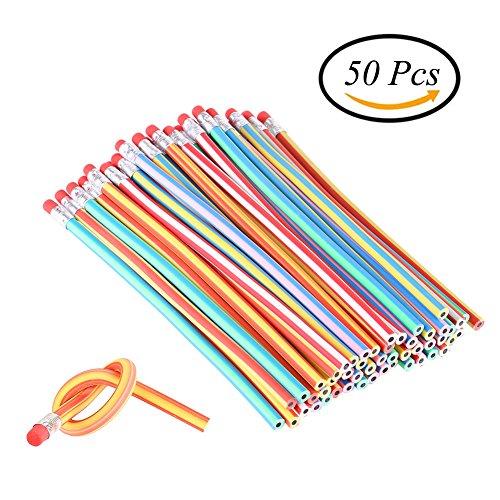 Ccinee Soft Flexible Bendy Pencils Magic bend Kids Children School Fun Equipment for party bag Fillers, confezione da 50