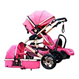 3 in 1 Baby Stroller Bassinet Pram Carriage Stroller - Cynebaby All Terrain Vista City Select Pushchair Stroller Compact Convertible Luxury Strollers add Foot Cover (Pink)