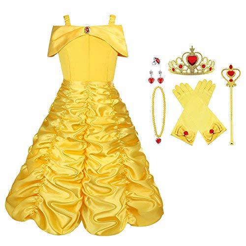 Viclcoon Prinzessin Kostüm Mädchen, Belle Kostüm Kinderkleider Mädchen Tutu Kleid mit Zubehör, Handschuhe, Diadem, Zauberstab und Halskette Ringe, 9 Pcs Set,4-5 Jahre, Gelb, Größe 110cm
