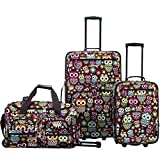 Rockland Vara Softside 3-Piece Upright Luggage Set, Owl, (20/22/28)
