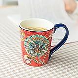 ZZRR Taza de café doméstica de Gran Capacidad de 15 oz, Taza de cerámica, artesanía en Esmalte, Adecuada para Jugo de Leche de café, se Puede Usar en microondas, lavavajillas, Horno Rojo