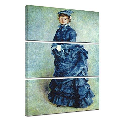 Wandbild Pierre-Auguste Renoir Die Pariserin - 80x120cm mehrteilig hochkant - Alte Meister Berühmte Gemälde Leinwandbild Kunstdruck Bild auf Leinwand