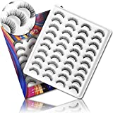 20 Pairs of False Eyelashes, Eyelashes Natural Look for Women, 3D Fake eyelashes Wispies Eyelashes Pack Handmade Fake Lashes (natural lashes)