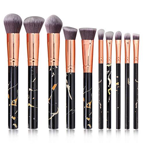 XHXseller Lot de 10 pinceaux de maquillage en bambou naturel Noir/blanc/rose/kaki Taille unique Noir
