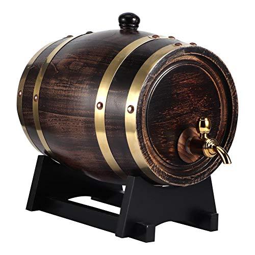 Oumefar 3L Madera de Roble Barril de Vino Retro Vintage Madera de Roble Vino Negro Brandy Whisky Bourbon Tequila Barril de Roble Contenedor de Cubo de Vino Tinto con Grifo
