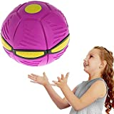 Magic UFO Ball,Vent Ball Toy Magic UFO Ball,Flying Saucer Ball Magic Deformation Light UFO Toys Venting Decompression for Children's Gifts (Rose red)
