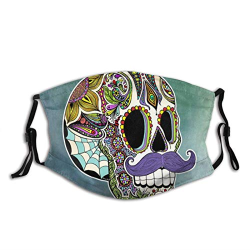 WOCAI Mustache Sugar Skull Purple Adults Mouth Masks Reusable and Washable Face Covering for Men&Women